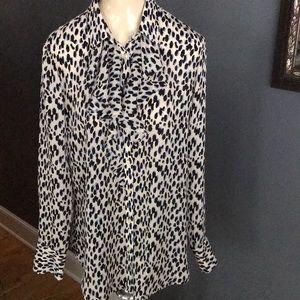 Banana Republic ivory leopard print ruffled blouse
